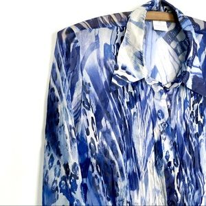 Sheer Silk Animal-Print Blouse